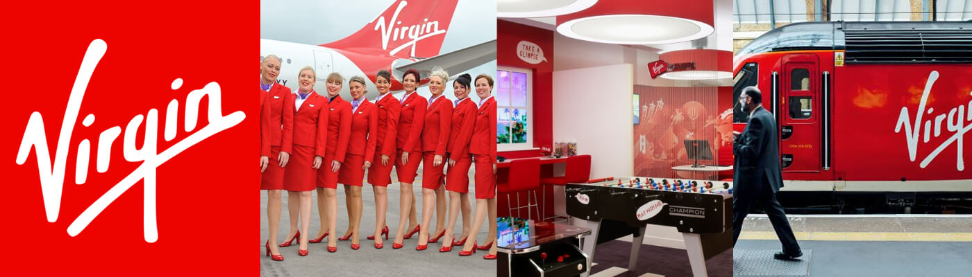 Colour in brand virgin red