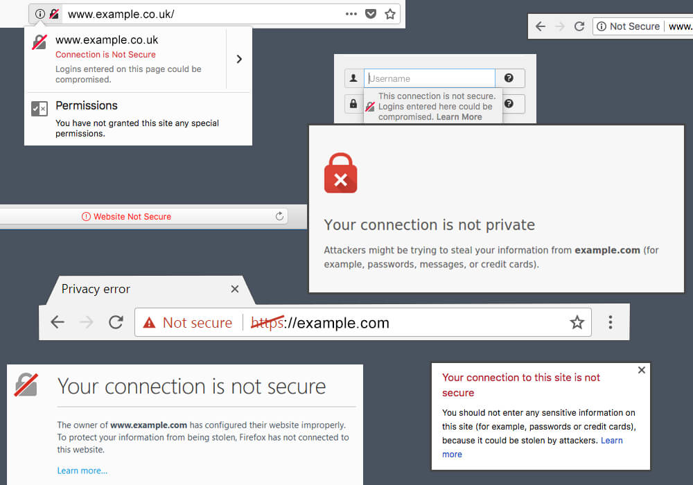 http not secure website examples